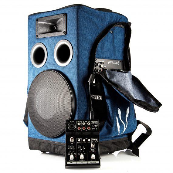 zaino cassa partybag 6 blu con mixer usb